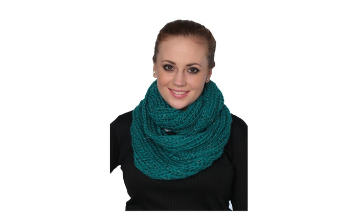 Womens Solid Knit Infinity Scarf Ultra-Light Soft Warm Scarves