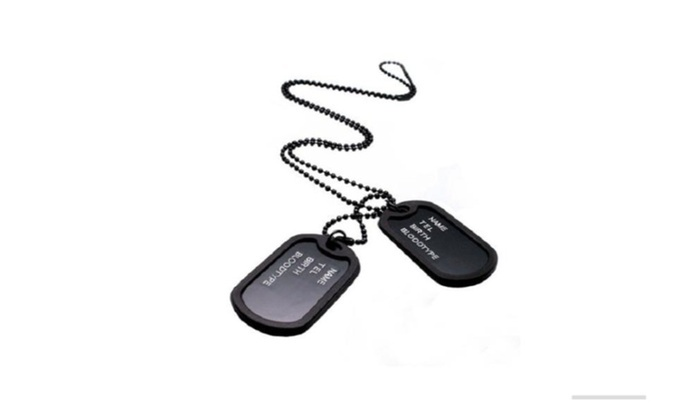 Military Army Style Black 2 Dog Tags Chain Pendant Necklace