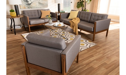 Lenne Upholstered Walnut Finished 3-Piece Living Room Set