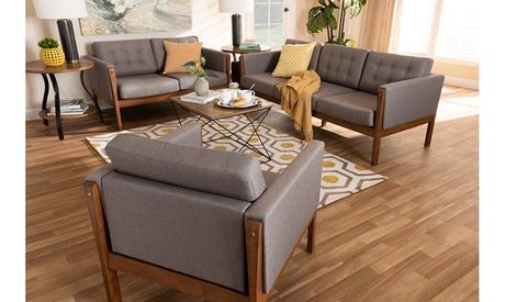 Lenne Upholstered Walnut Finished 3-Piece Living Room Set