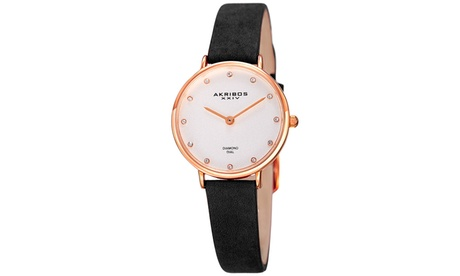 Akribos XXIV Women's Japanese Leather Strap Watch AKGP882 eada7cc2-3b38-4ba4-888b-fe2366e9acce
