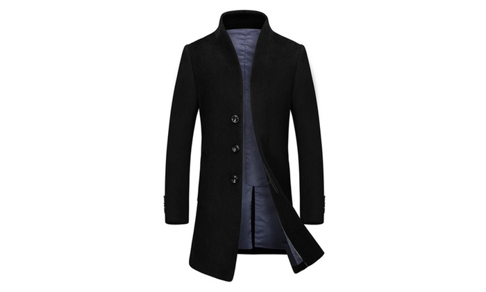 Men's Collarless Regular Fit Single Breasted Long Wool Blend Coat