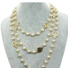 Pearls Rhinestone Leaf Clovers Double Chain Necklace