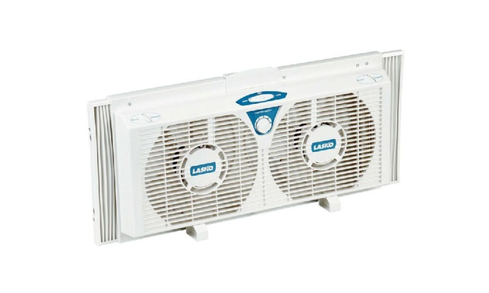 "Lasko 2138 Twin Window Fan, 8"", 2 Speed, White"