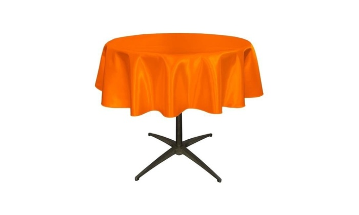 LA Linen TCbridal58R OrangeB48 Bridal Satin Round Tablecloth Orange   58 In.