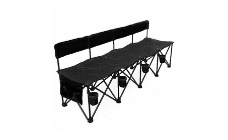 Goteam Pro 4 Seat Portable Folding Team Bench - Black 66daa04e-04c7-462f-bfbc-bbacd9ca721c