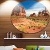 American Road in Arches National Park' Landscape Metal Circle Wall Art