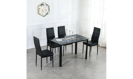 4 seat dining room table set Black Compact Space w/Glass Tabletop