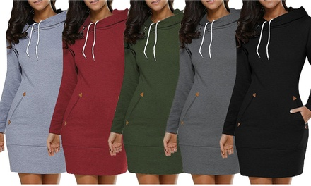 Women Slim Long Hoodie Tunic Pullover Sweatshirt with Pockets Was: $39.99 Now: $12.89.