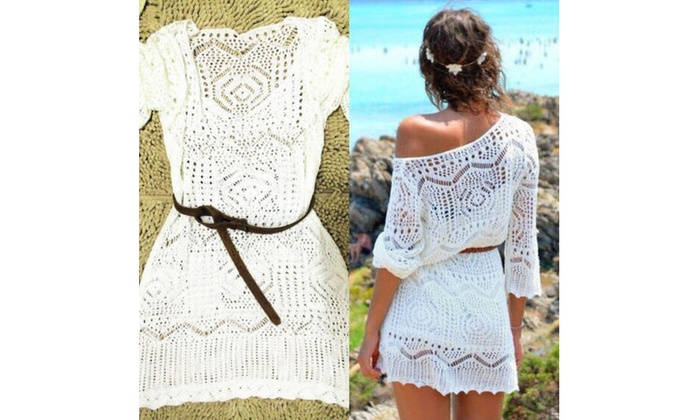 bd332c3f43 Up To 72% Off on Lace Crochet Bikini Cover Up ... | Groupon Goods
