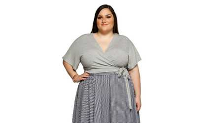 5d58f7b6db Shop Groupon Xehar Women s Plus Size V-Neck Ribbed SurpIice Wrap Crop  Blouse Top