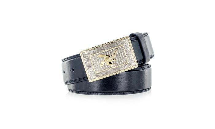 Faddism Men's Genuine Leather Belt American Eagle