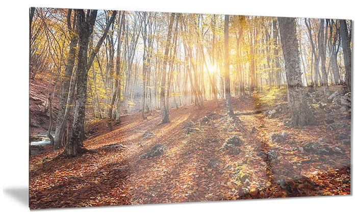 Metal Wall Art Mountain Landscapes : Crimean mountains yellow autumn landscape metal wall art