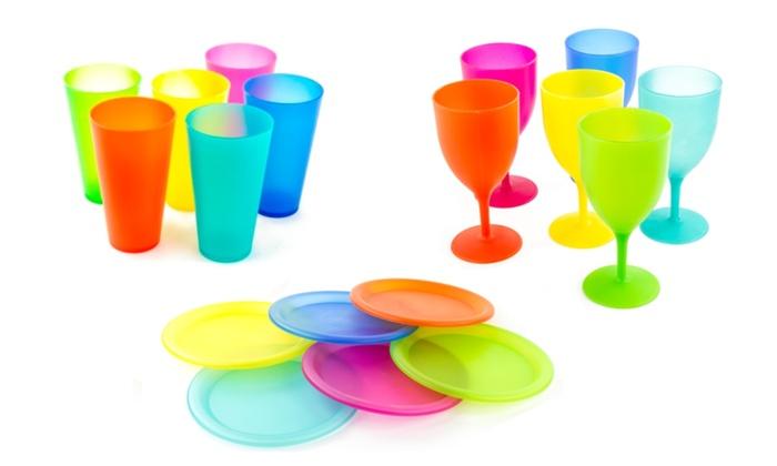 Reusable Plastic Picnic Set With Color Coded Plates/Goblets ...  sc 1 st  Groupon & Reusable Plastic Picnic Set With Color Coded Plates/Goblets | Groupon