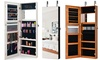 Wall&Door Mounted Jewelry Cabinet Lockable Storage Organizer w/ Frameless Mirror