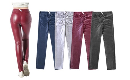 Women's Sexy Tight Stretchy PU Leather Denim Pants Rider Leggings 52194c33-2ae0-4a3a-9117-d9e4811a3211