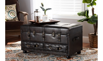 Callum Dark Brown Faux Leather 2-Drawer Storage Trunk Ottoman