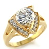 Solitaire CZ Engagement Ring 14K Yellow Gold Over Stainless Steel