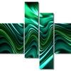 Emerald Energy Green - Large Modern Canvas Art - 63x32 - 4 Panels