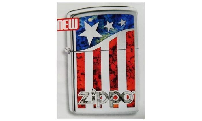 Zippo American Flag Pocket Lighter, High Polish Chrome 29095