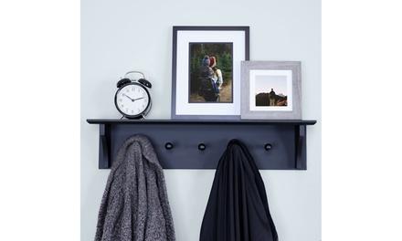Floating Coat and Hat Wall Shelf Rack, 5 Pegs Hook
