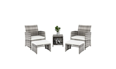 5 Piece Rattan Patio Furniture, 2pcs Arm Chairs 2 Footstools & Coffee Table