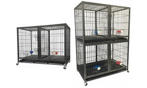 "Go Pet Club 44"" Heavy-Duty Stackable Pet Crate with Divider and Bowls"