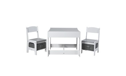 Costway Kids Table Chairs Set With Storage Boxes Blackboard Whiteboard Drawing