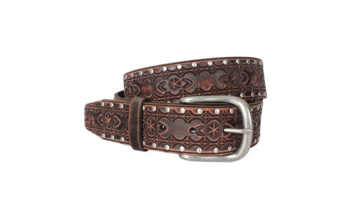 7P058-BRN Men Vintage Western Embossed Studded Leather Belt