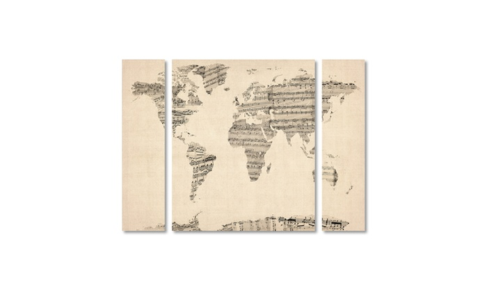 Michael tompsett old sheet music world map multi panel canvas art groupon goods michael tompsett old sheet music world map multi panel canvas gumiabroncs Choice Image