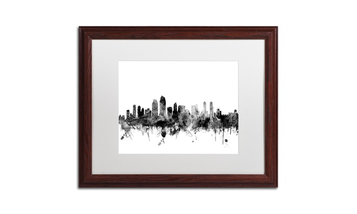 Michael tompsett 39 san diego ca skyline b w 39 wood framed for Michaels craft store san diego