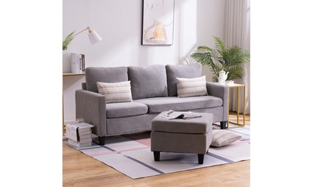 L Shape 3-seat Sofa Couch Reversible Sectional Sofa for Small Apartment