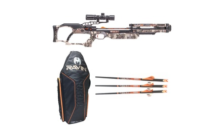 Ravin R024 Crossbow Package 430 FPS Predator Camo with Soft Case and Arrows Kit