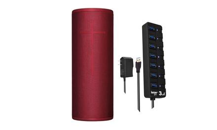 Ultimate Ears MEGABOOM 3 Wireless Bluetooth Speaker (Red) and USB 3.0 Hub