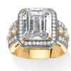 7.65 TCW CZ Ring in 14k Gold-Plated and Silvertone