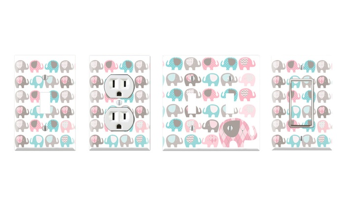 Toggle Rocker Switch Outlet Cover Decor Wall Plates Elephant Nursery