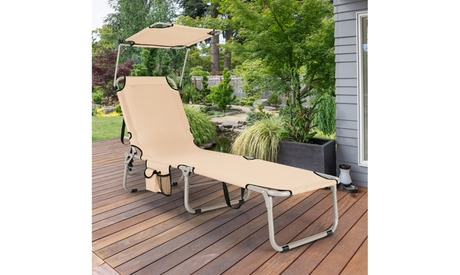 Costway Foldable Lounge Chair Outdoor Adjustable Beach Patio Pool Recliner