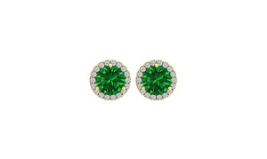 14k Yellow Gold 4 Ct Round Emerald Halo Stud Earrings