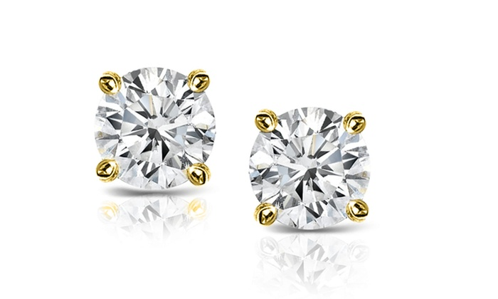 a0842695a 14k Yellow Gold 0.33ct. TDW Solitaire Diamond Stud Earrings (J-K,I2)