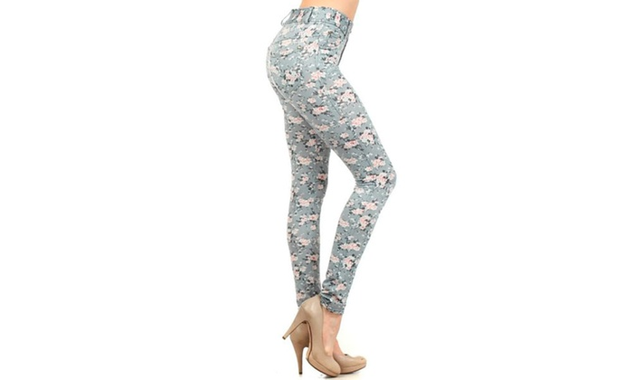 Lady's Ditsy Print Jeggings