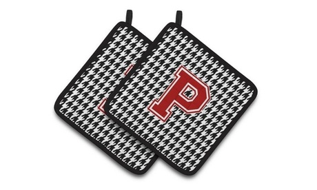 Carolines Treasures CJ1021-PPTHD Letter P Monogram - Houndstooth Black Pair of P photo