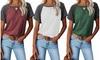 Women's Summer Tops Short Sleeves Cross Side Splits T Shirt Basic Tees