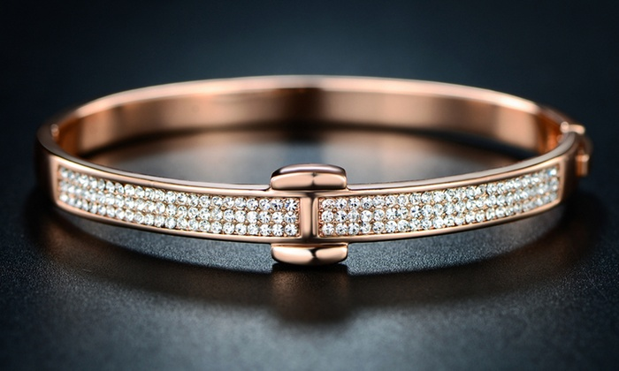 f4ea4cf0c 18K Rose Gold Plated Hinge Bangle with Swarovski Crystals By Barzel ...