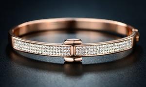 18K Rose Gold Plated Hinge Bangle with Swarovski Crystals By Barzel