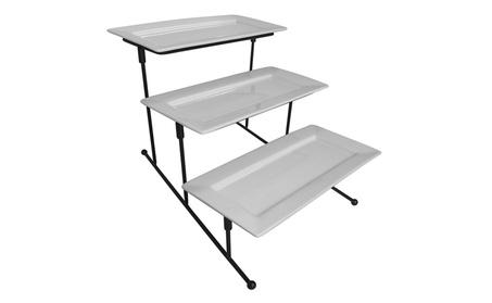 Evelots 3 Tier Rectangular Serving Platter, Cake Tray & Display Plate