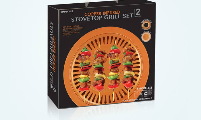Stove Top Grill Plate Copper Non Stick Smokeless Roasting Round Ceramic Bbq