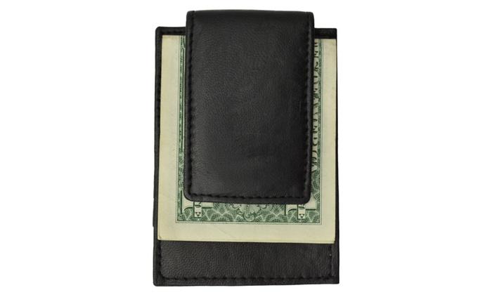 mens genuine leather money clip credit card holder wallet - Mens Money Clip Credit Card Holder