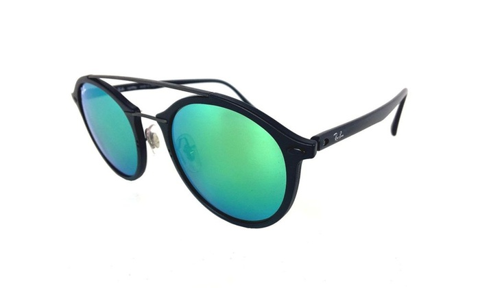 0ea32405a26595 Ray Ban Round Top Bar Sunglasses with Mirrored Lenses UV Black Plastic