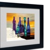 Roderick Stevens 'Blue Sunset By Numbers' Matted Black Framed Art