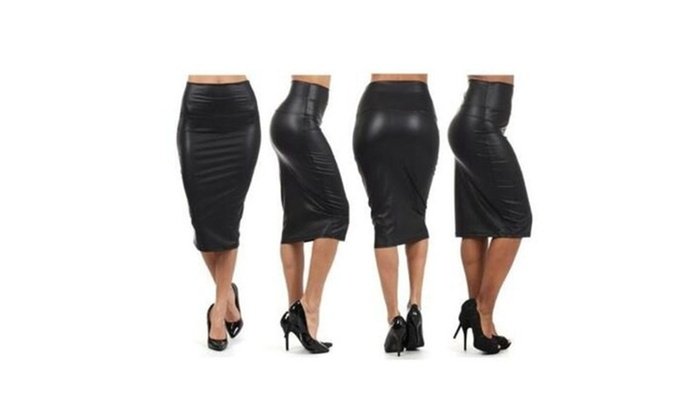 Sexy Black Faux leather Pencil Skirt High Waist Below Knee